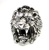14 K White Gold Men's King Lion Heavy Ring With Black And White Diamonds