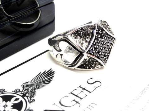 Spade Ring With Black Diamonds By Sacred Angels