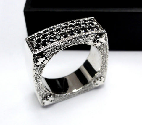 Men's Textured Silver Wedding Band With Black Diamonds by Sacred Angels