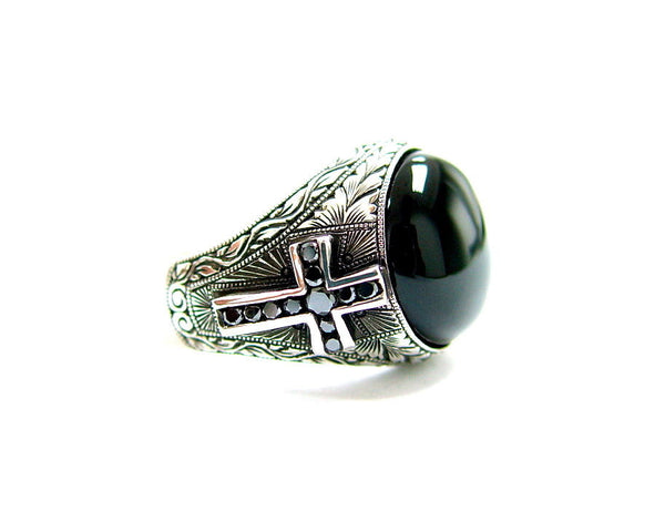 Men's Hand Engraved Silver Cross Ring With Black Diamonds by Sacred Angels
