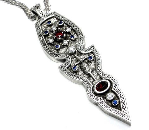 Knights Arrowhead Pendant With Diamonds And Gem Stones By Sacred Angels