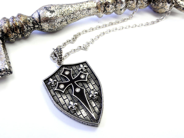 Men's Shield Pendant With White Diamonds by Sacred Angels