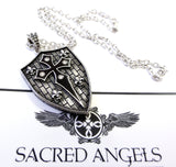 Men's Silver Shield Pendant With White Diamonds by Sacred Angels