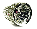 14K White Gold USMC Marine Corps Ring With Diamonds And Rubies By Sacred Angels
