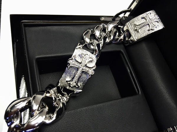Men's Sterling Silver Gothic Cross Bracelet With Diamonds By Sacred Angels
