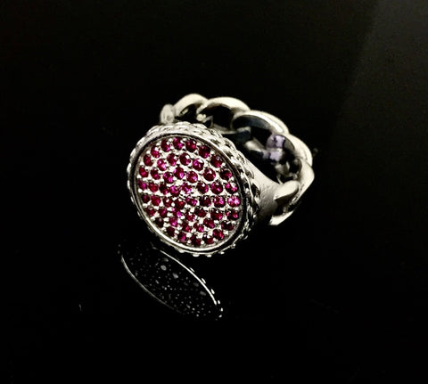 Men's Cuban Chain Ring With Rubies By Sacred Angels