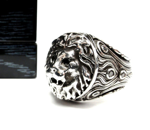 14 K White Gold Custom Lion Heavy Ring With Black Diamonds By Sacred Angels
