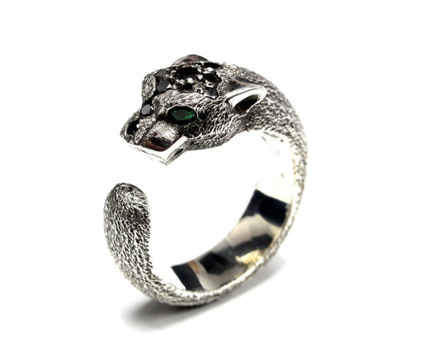 14K White Gold Panther Ring With Black Diamond by Sacred Angels