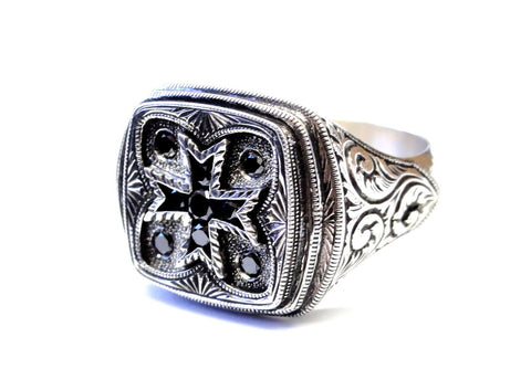 Men's Silver Cross Hand Engraved Ring With Black Diamonds by Sacred Angels