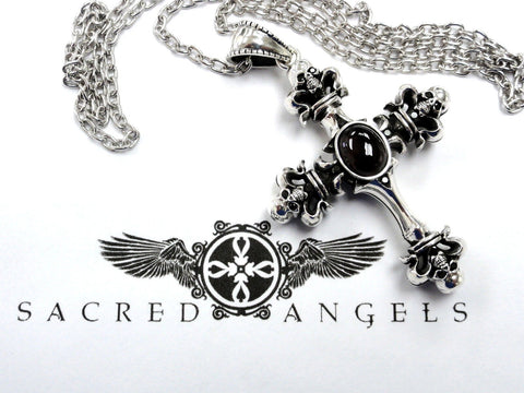 Men's Silver Skull Black Diamond Cross Pendant Necklace by Sacred Angels