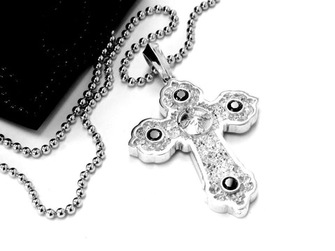 14K White Gold Designer Cross Pendant With Black Diamonds by Sacred Angels