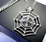 Hand Engraved Spyder Web Diamond Cross Pendant By Sacred Angels