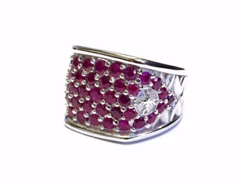 Men's 14 K White Gold Wedding Band With Rubies by Sacred Angels