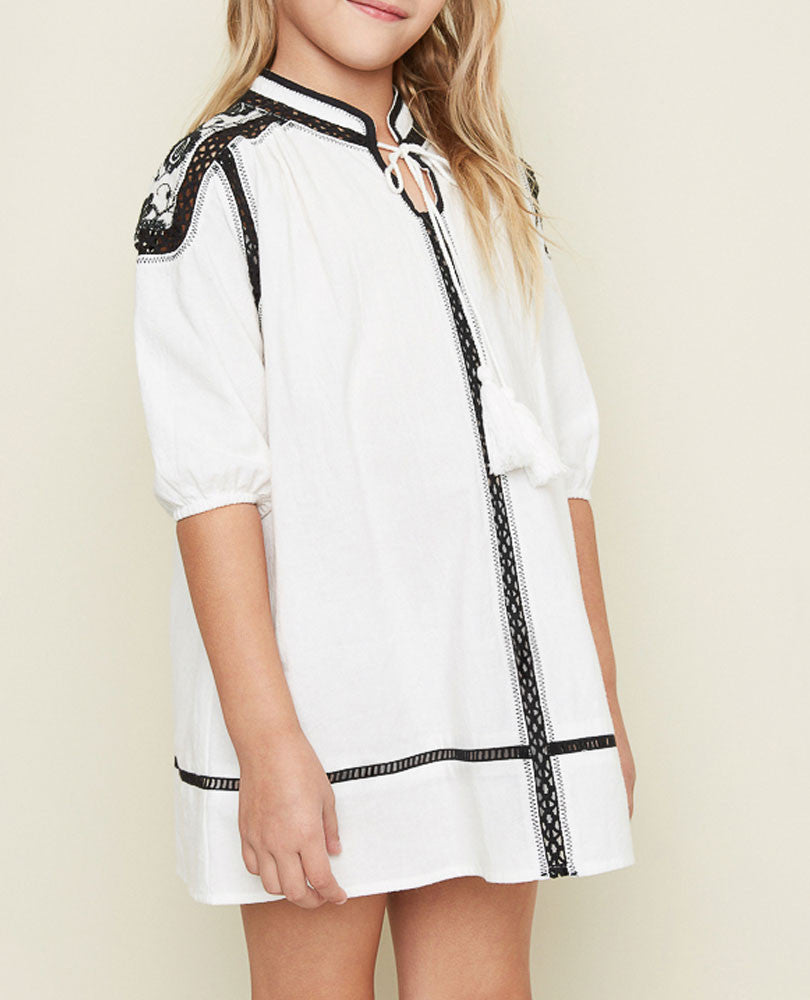 Girl's Embellished Festival Tunic, Cream with Black Trim