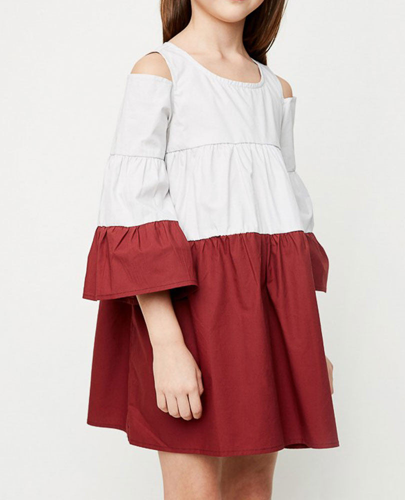 Girl's Cold Shoulder Tiered Poplin Dress