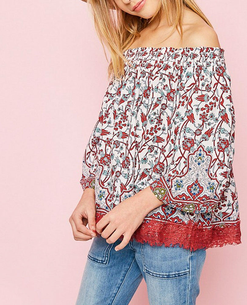 Girl's Off the Shoulder Lace Trim Top