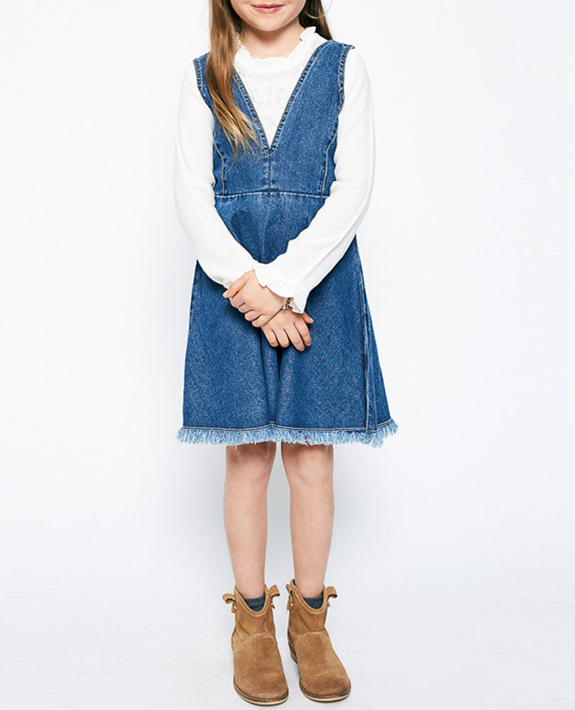 Girl's Denim Overall Dress