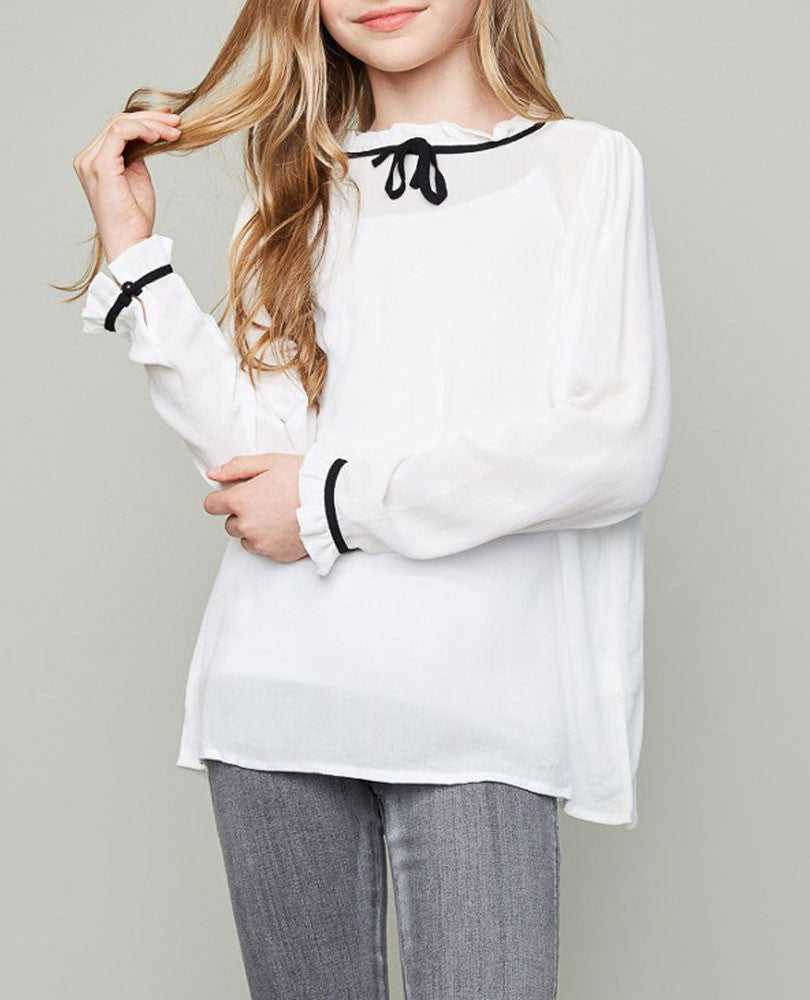 Girl's Tie Neck Blouse