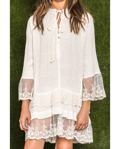 Girl's Tiered Lace Tunic, Ivory