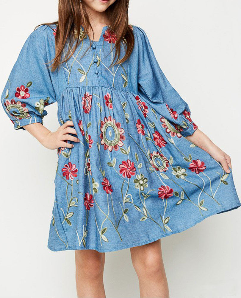 Girl's Embroidered Chambray Dress
