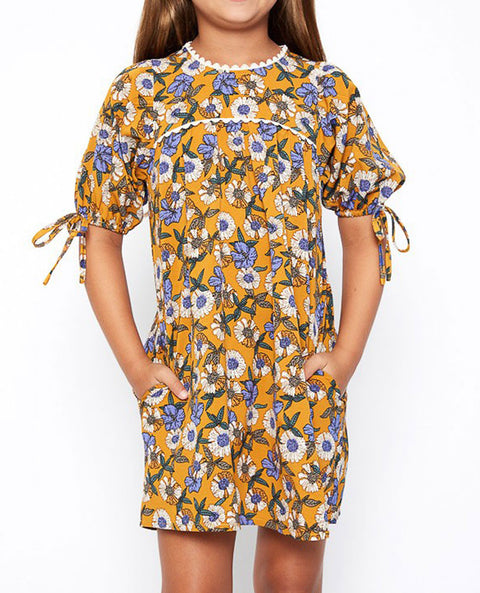 Girl's Tie Sleeve Floral Dress, Mustard Print