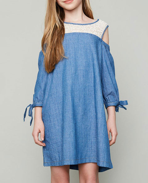 Girl's Cold Shoulder Denim and Lace Dress