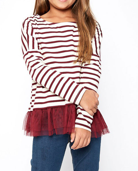 Girl's Striped Top with Tulle Trim