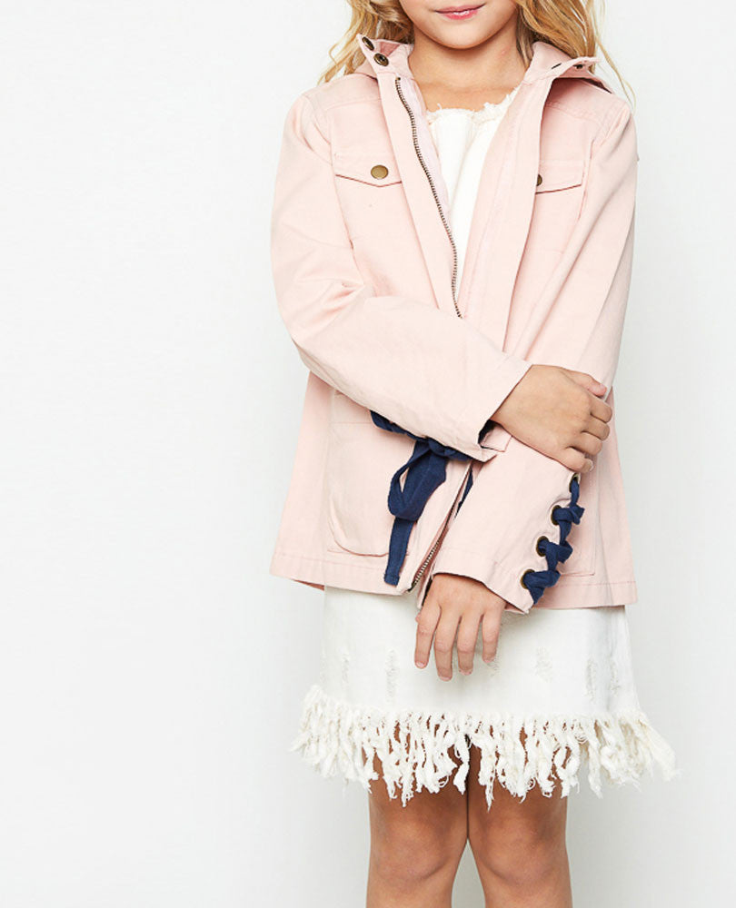 Girl's Lace Up Utility Jacket, Blush and Navy