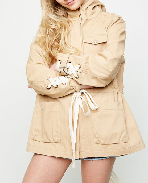 Girl's Lace Up Utility Jacket, Camel and Cream
