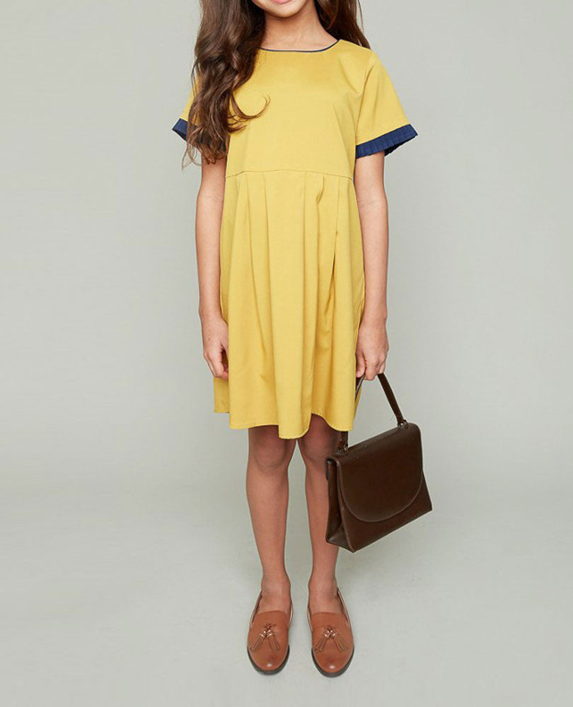 Girl's Babydoll with Pleated Trim, Mustard