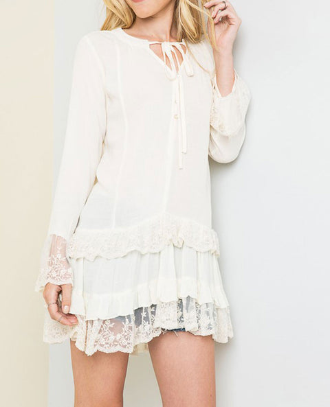 Women's Tiered Lace Tunic, Ivory