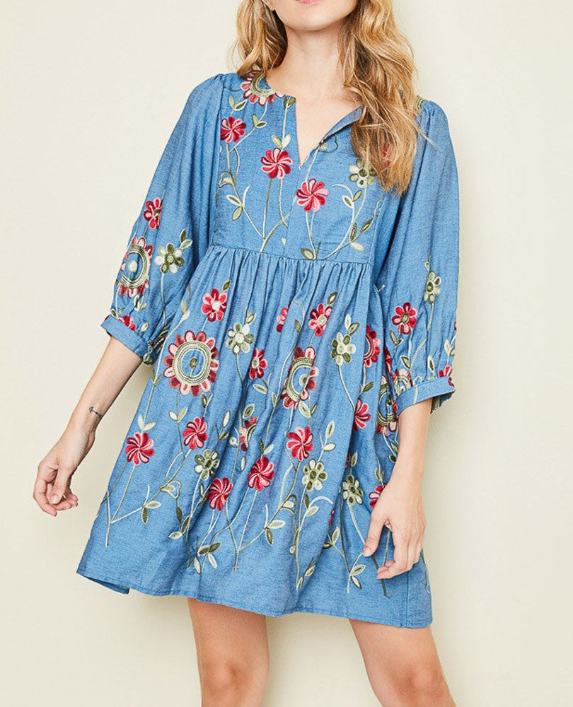 Women's Embroidered Chambray Dress