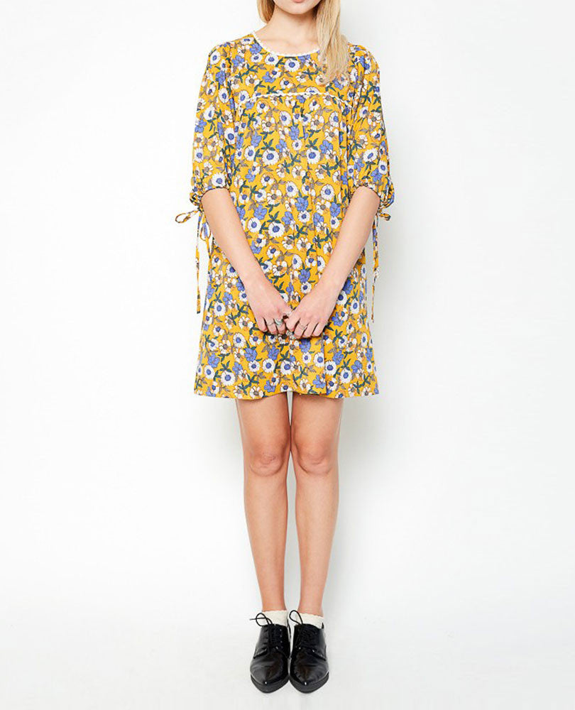 Women's Tie Sleeve Floral Dress, Mustard Print