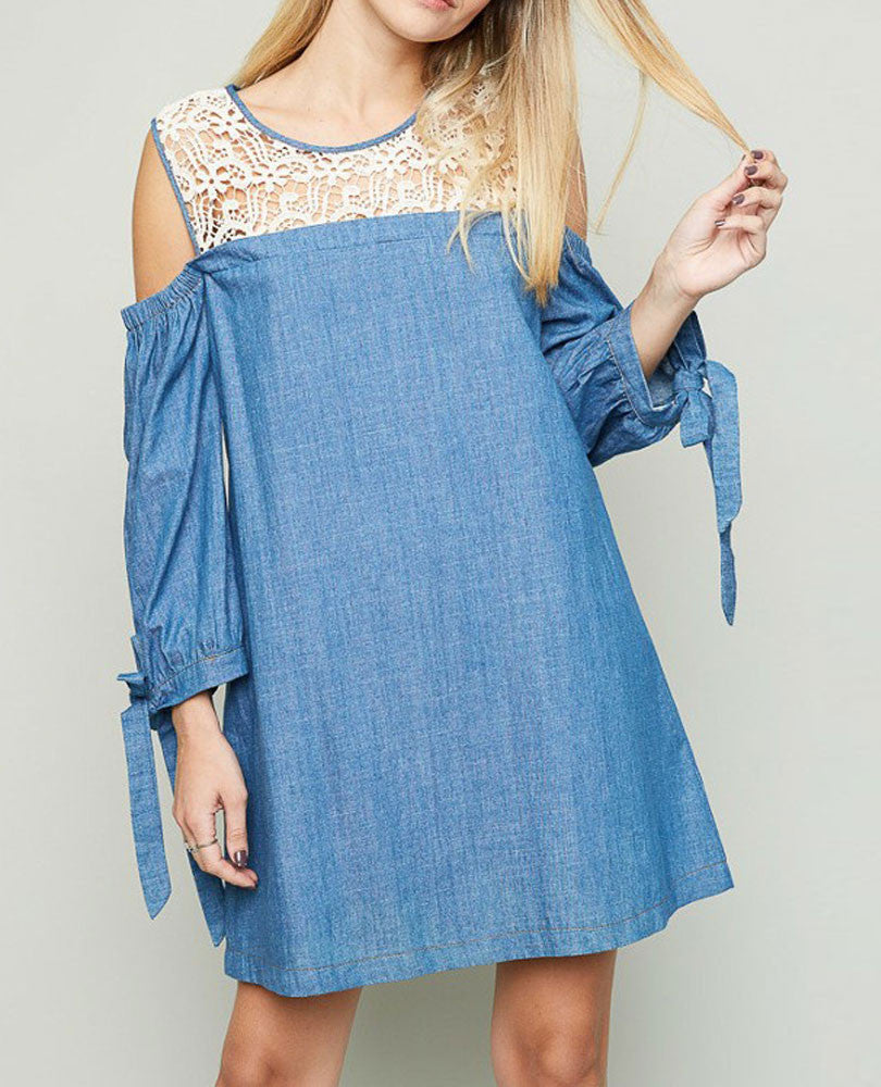 Women's Cold Shoulder Denim and Lace Dress
