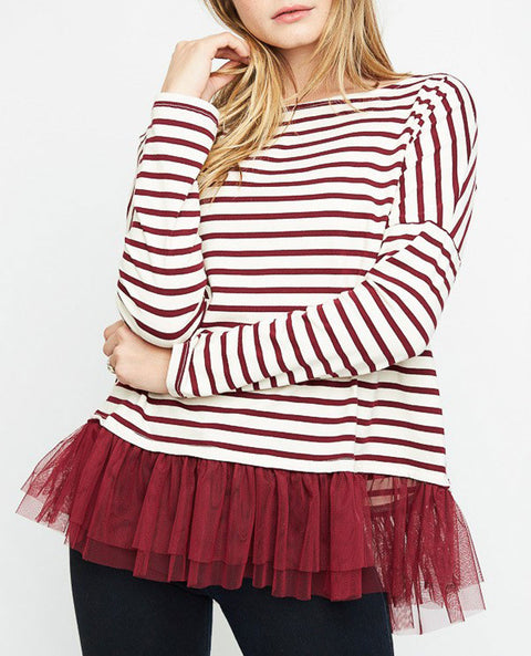 Women's Striped Top with Tulle Trim