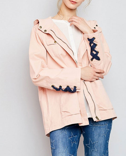 Women's Lace Up Utility Jacket, Blush and Navy
