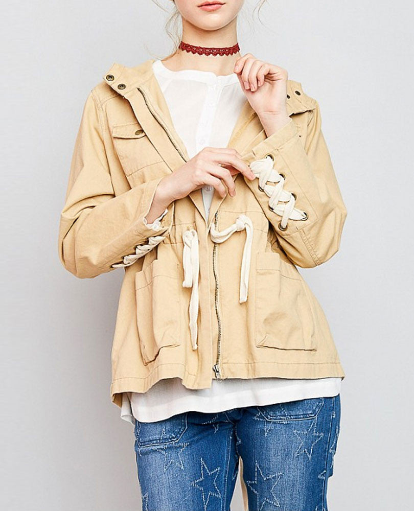Women's Lace Up Utility Jacket, Camel and Cream