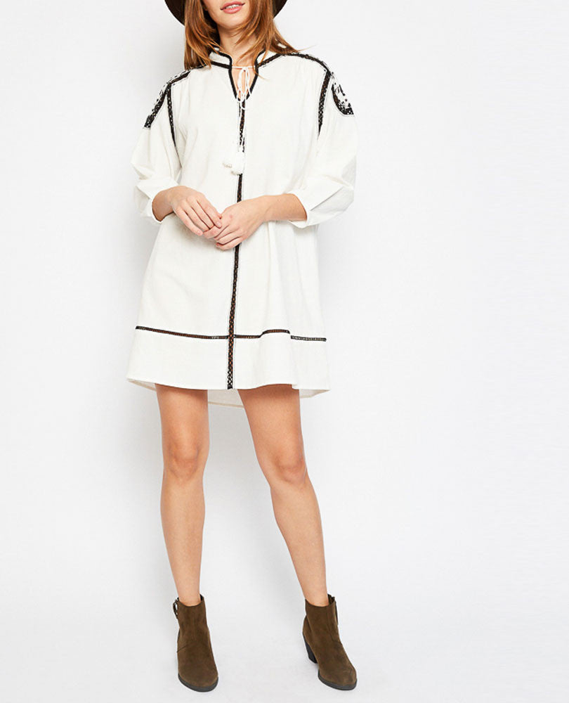Women's Embellished Festival Tunic, Cream with Black Trim