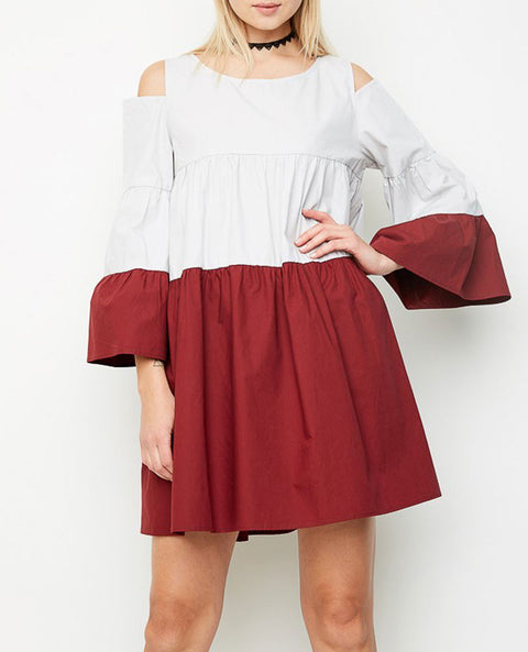 Women's Cold Shoulder Tiered Poplin Dress