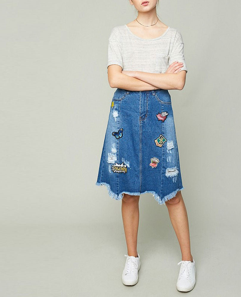 Womens's Denim Patch Skirt