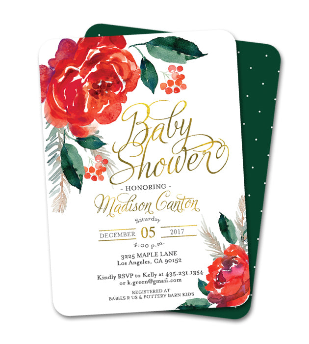 Christmas Baby Shower Red Flowers Holly Berries