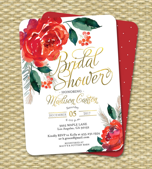 christmas bridal shower invitation red flowers and holly berries