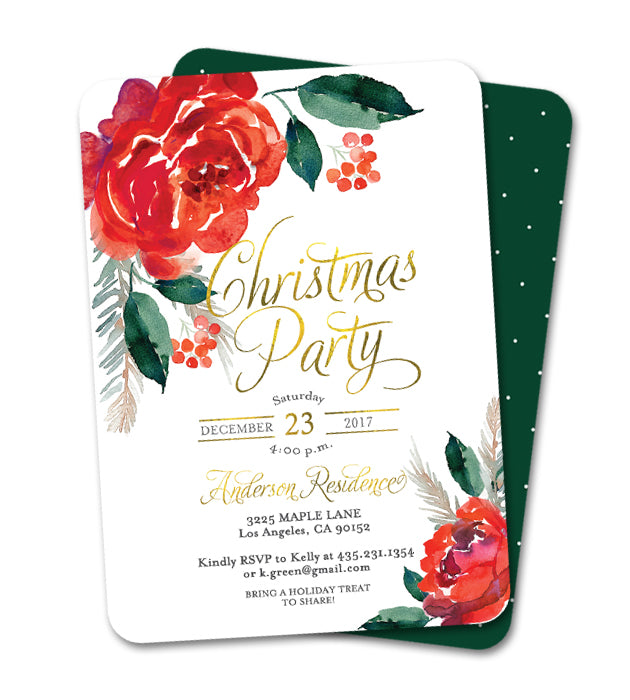 Christmas Party Invitation Red Floral Holly and Berries Faux Gold Foil