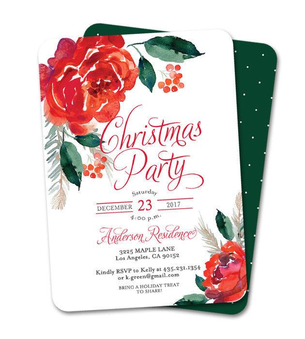 Christmas Party Invitation Holiday Party Invite Red Floral Holly And