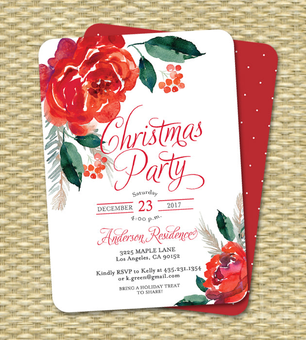 Christmas Party Invitation Holiday Party Invite Red Floral Holly and Berries