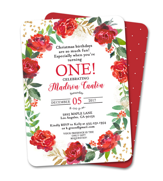 Holiday Kids Birthday Invitation Red Floral Wreath Gold Glitter