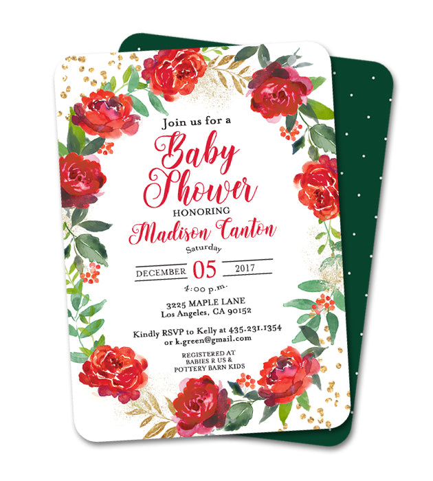 Holiday Birthday Invitation Red Floral Wreath Gold Glitter