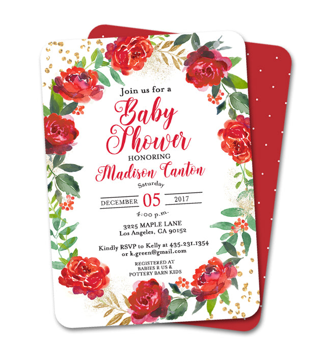 Holiday Baby Shower Invitation Red Floral Wreath Gold Glitter
