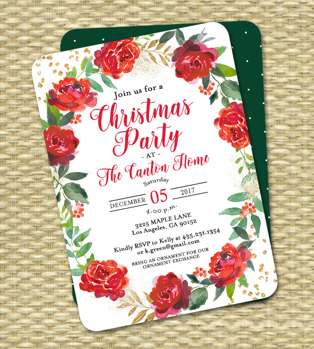 Christmas Party Invitation Red Floral Wreath Gold Glitter