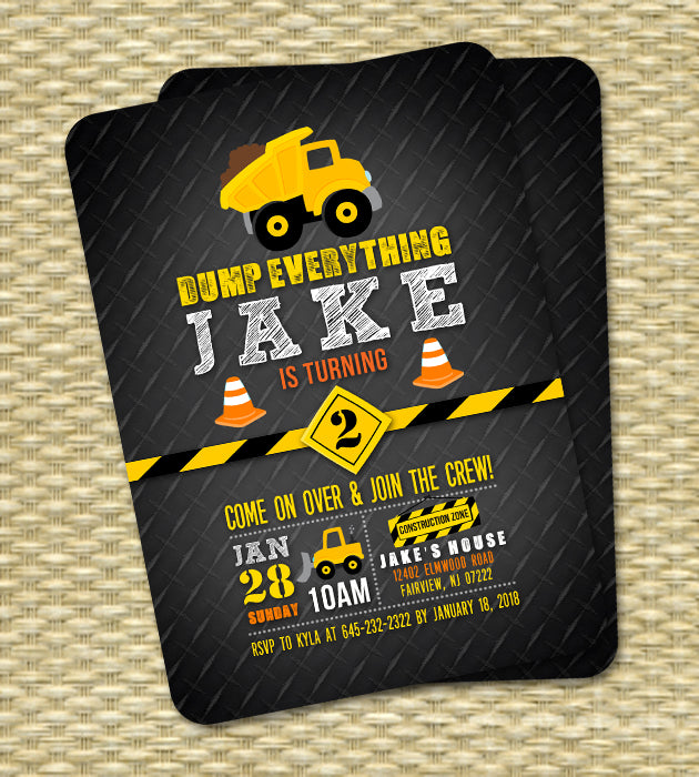 Construction Birthday Invitation Dump Truck Birthday Invitation 1st Birthday ANY AGE/EVENT